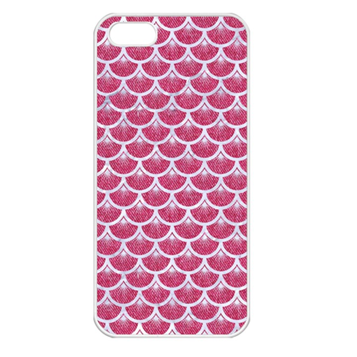 SCALES3 WHITE MARBLE & PINK DENIM Apple iPhone 5 Seamless Case (White)