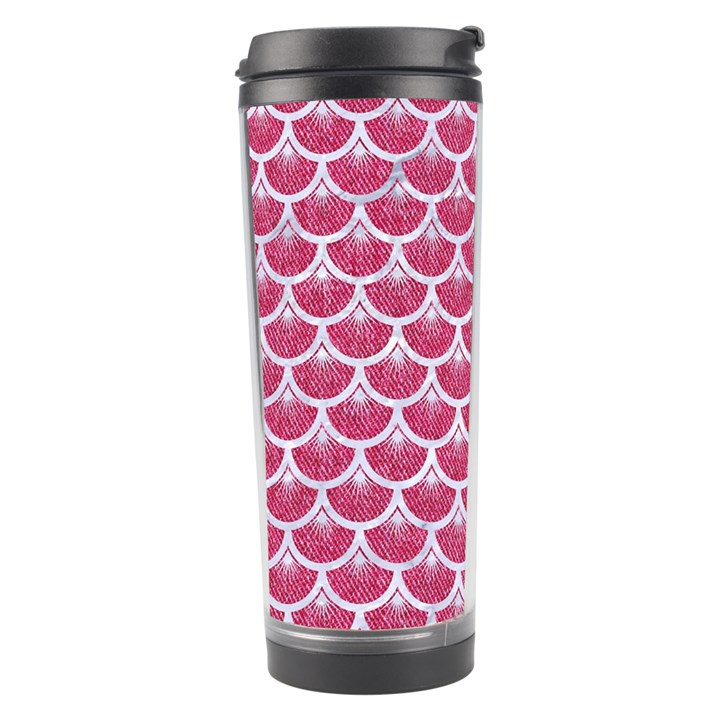 SCALES3 WHITE MARBLE & PINK DENIM Travel Tumbler