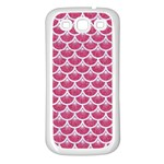 SCALES3 WHITE MARBLE & PINK DENIM Samsung Galaxy S3 Back Case (White) Front