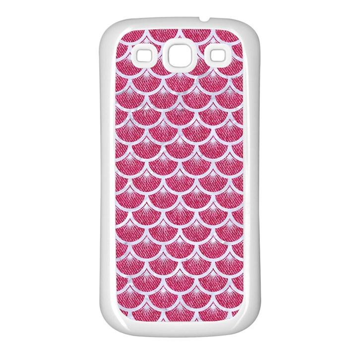 SCALES3 WHITE MARBLE & PINK DENIM Samsung Galaxy S3 Back Case (White)