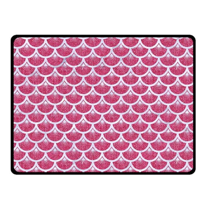 SCALES3 WHITE MARBLE & PINK DENIM Double Sided Fleece Blanket (Small)