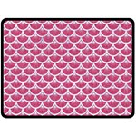 SCALES3 WHITE MARBLE & PINK DENIM Double Sided Fleece Blanket (Large)  80 x60 Blanket Front