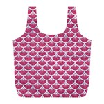 SCALES3 WHITE MARBLE & PINK DENIM Full Print Recycle Bags (L)  Front