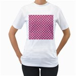 SCALES3 WHITE MARBLE & PINK DENIM Women s T-Shirt (White)  Front