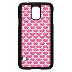 SCALES3 WHITE MARBLE & PINK DENIM Samsung Galaxy S5 Case (Black) Front