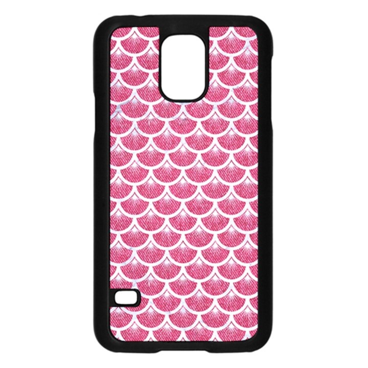 SCALES3 WHITE MARBLE & PINK DENIM Samsung Galaxy S5 Case (Black)
