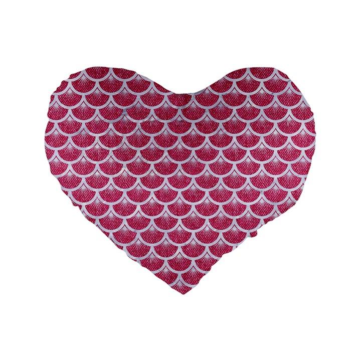 SCALES3 WHITE MARBLE & PINK DENIM Standard 16  Premium Flano Heart Shape Cushions