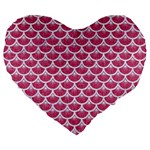 SCALES3 WHITE MARBLE & PINK DENIM Large 19  Premium Flano Heart Shape Cushions Front