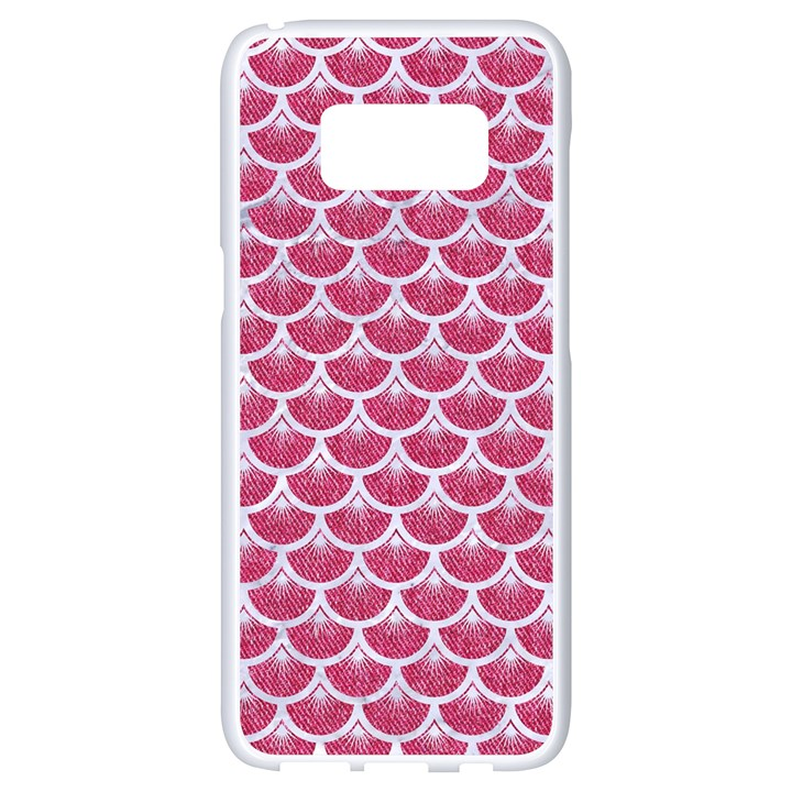 SCALES3 WHITE MARBLE & PINK DENIM Samsung Galaxy S8 White Seamless Case