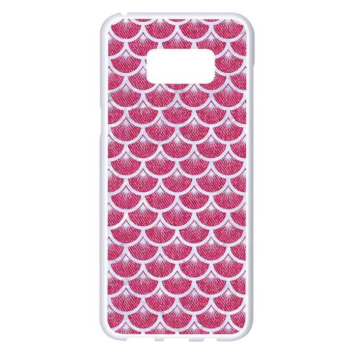 SCALES3 WHITE MARBLE & PINK DENIM Samsung Galaxy S8 Plus White Seamless Case