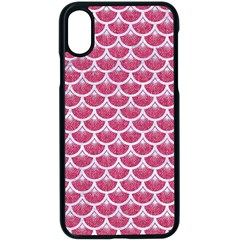 Scales3 White Marble & Pink Denim Apple Iphone X Seamless Case (black)