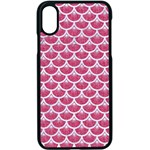 SCALES3 WHITE MARBLE & PINK DENIM Apple iPhone X Seamless Case (Black) Front