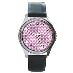 Scales2 White Marble & Pink Denim (r) Round Metal Watch
