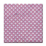 SCALES2 WHITE MARBLE & PINK DENIM (R) Tile Coasters Front