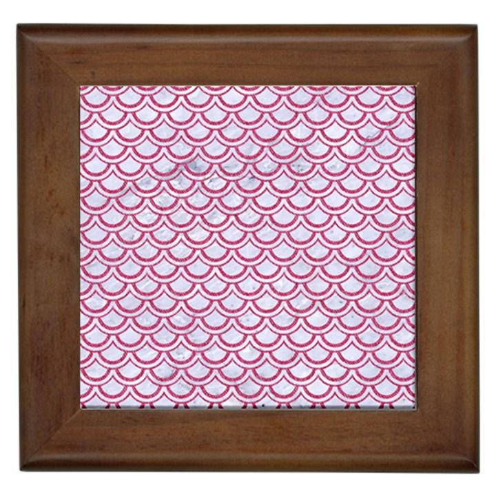 SCALES2 WHITE MARBLE & PINK DENIM (R) Framed Tiles