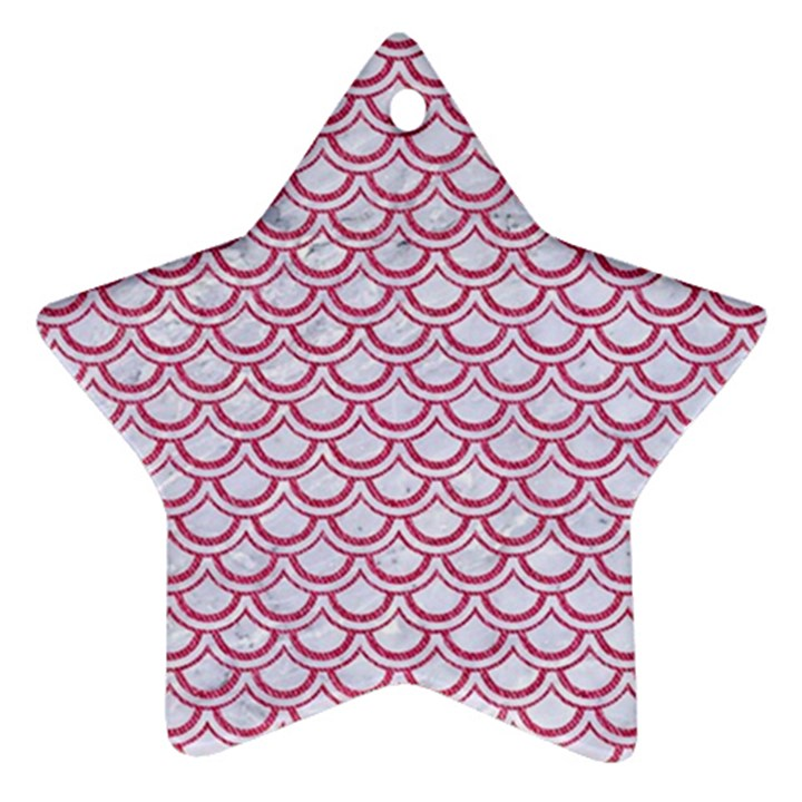SCALES2 WHITE MARBLE & PINK DENIM (R) Ornament (Star)