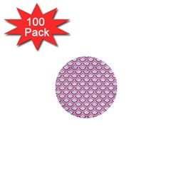 Scales2 White Marble & Pink Denim (r) 1  Mini Buttons (100 Pack)