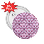 SCALES2 WHITE MARBLE & PINK DENIM (R) 2.25  Buttons (100 pack)  Front