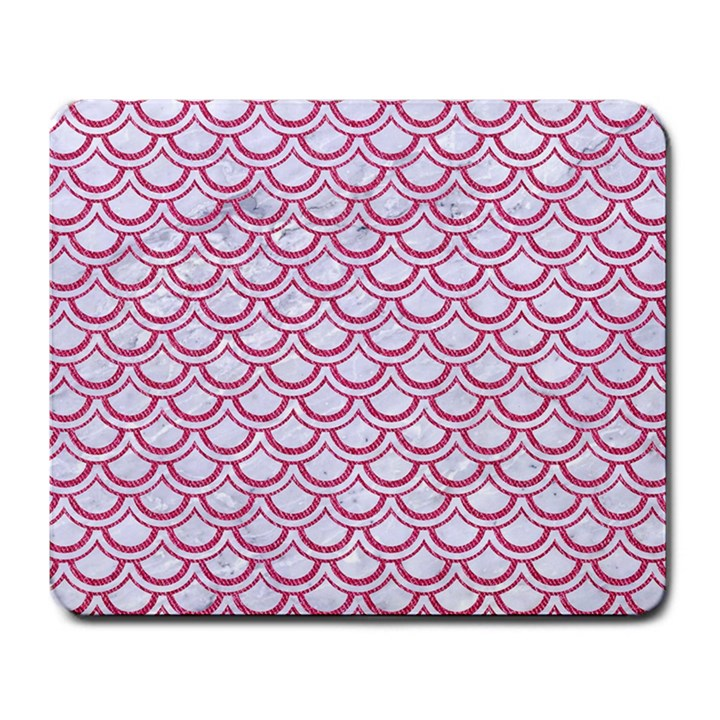 SCALES2 WHITE MARBLE & PINK DENIM (R) Large Mousepads