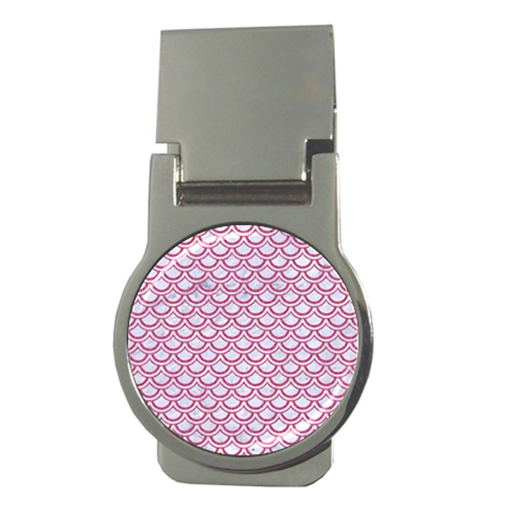 SCALES2 WHITE MARBLE & PINK DENIM (R) Money Clips (Round)