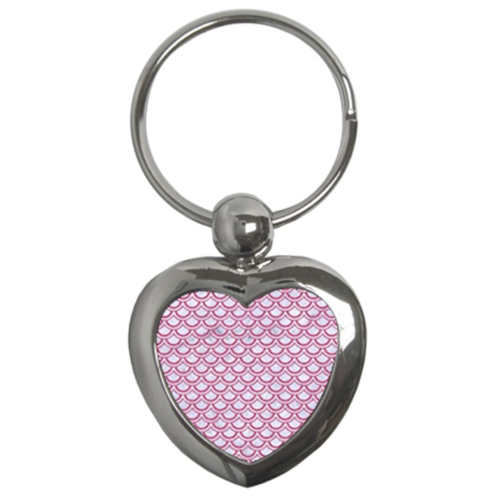 SCALES2 WHITE MARBLE & PINK DENIM (R) Key Chains (Heart)