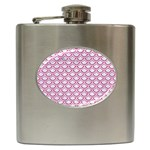 SCALES2 WHITE MARBLE & PINK DENIM (R) Hip Flask (6 oz) Front