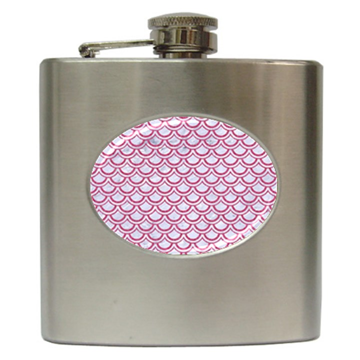 SCALES2 WHITE MARBLE & PINK DENIM (R) Hip Flask (6 oz)