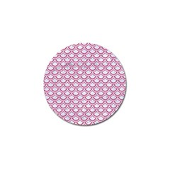 Scales2 White Marble & Pink Denim (r) Golf Ball Marker (4 Pack) by trendistuff