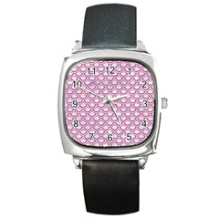 Scales2 White Marble & Pink Denim (r) Square Metal Watch