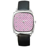 SCALES2 WHITE MARBLE & PINK DENIM (R) Square Metal Watch Front
