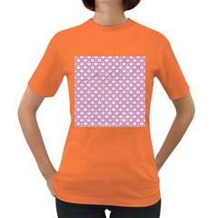 Scales2 White Marble & Pink Denim (r) Women s Dark T Shirt