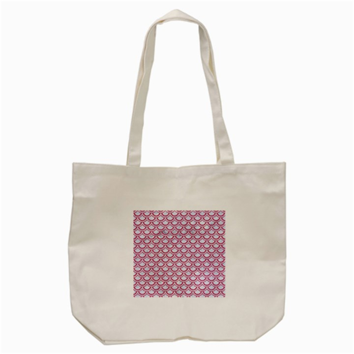 SCALES2 WHITE MARBLE & PINK DENIM (R) Tote Bag (Cream)