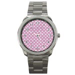 SCALES2 WHITE MARBLE & PINK DENIM (R) Sport Metal Watch Front