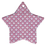 SCALES2 WHITE MARBLE & PINK DENIM (R) Star Ornament (Two Sides) Front
