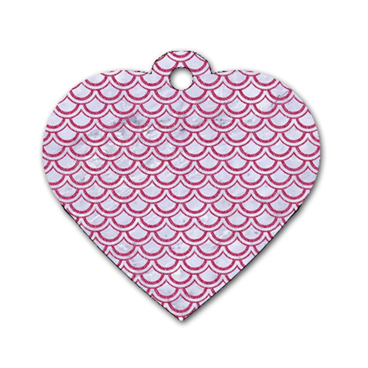 SCALES2 WHITE MARBLE & PINK DENIM (R) Dog Tag Heart (Two Sides)
