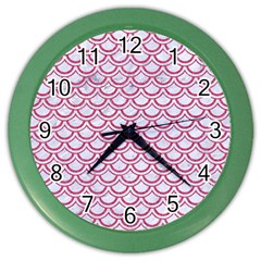 Scales2 White Marble & Pink Denim (r) Color Wall Clocks