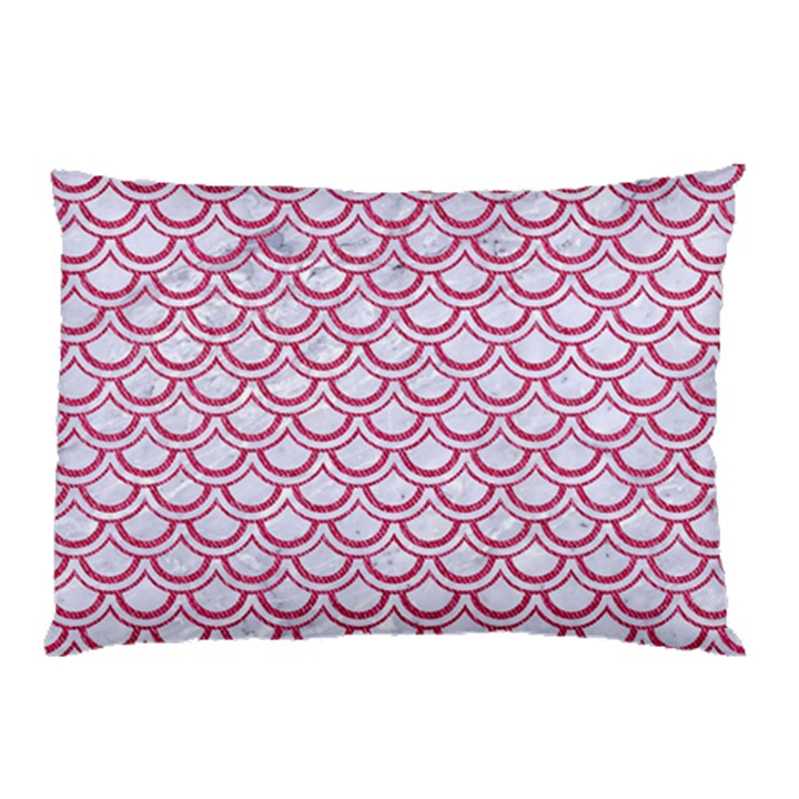 SCALES2 WHITE MARBLE & PINK DENIM (R) Pillow Case