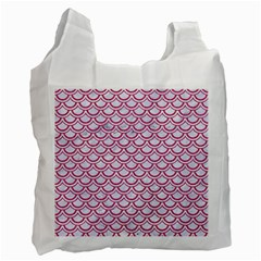 Scales2 White Marble & Pink Denim (r) Recycle Bag (two Side)