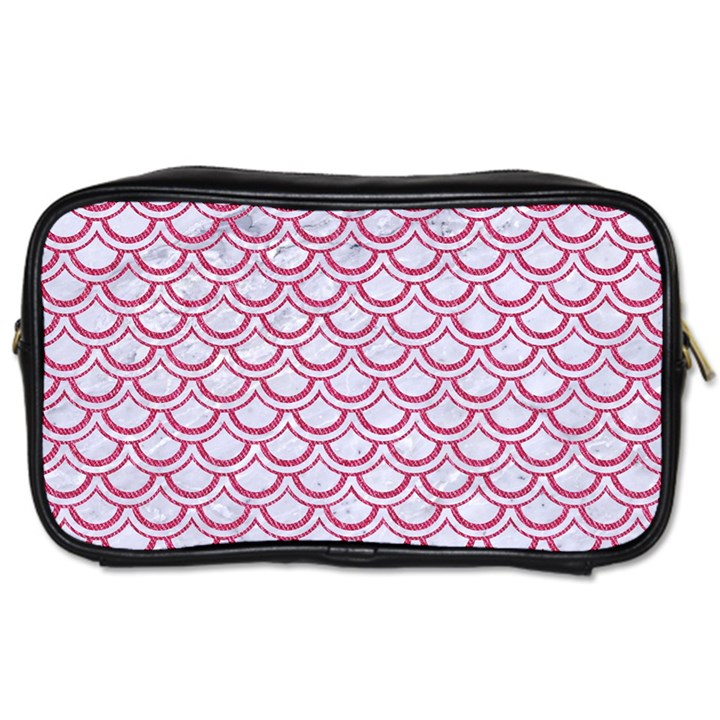SCALES2 WHITE MARBLE & PINK DENIM (R) Toiletries Bags