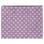 SCALES2 WHITE MARBLE & PINK DENIM (R) Cosmetic Bag (XXXL)  Front