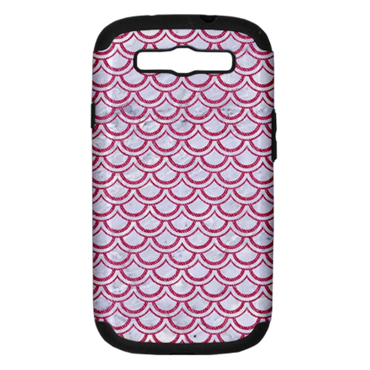 SCALES2 WHITE MARBLE & PINK DENIM (R) Samsung Galaxy S III Hardshell Case (PC+Silicone)