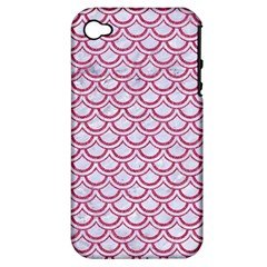 Scales2 White Marble & Pink Denim (r) Apple Iphone 4/4s Hardshell Case (pc+silicone)