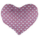 SCALES2 WHITE MARBLE & PINK DENIM (R) Large 19  Premium Heart Shape Cushions Back