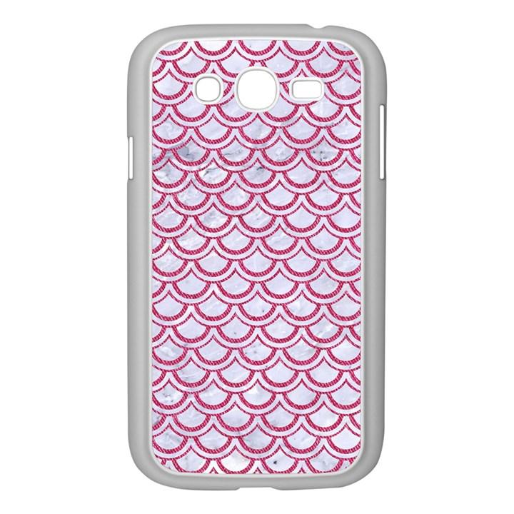 SCALES2 WHITE MARBLE & PINK DENIM (R) Samsung Galaxy Grand DUOS I9082 Case (White)