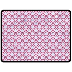 Scales2 White Marble & Pink Denim (r) Double Sided Fleece Blanket (large)