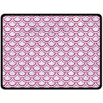 SCALES2 WHITE MARBLE & PINK DENIM (R) Double Sided Fleece Blanket (Large)  80 x60 Blanket Front