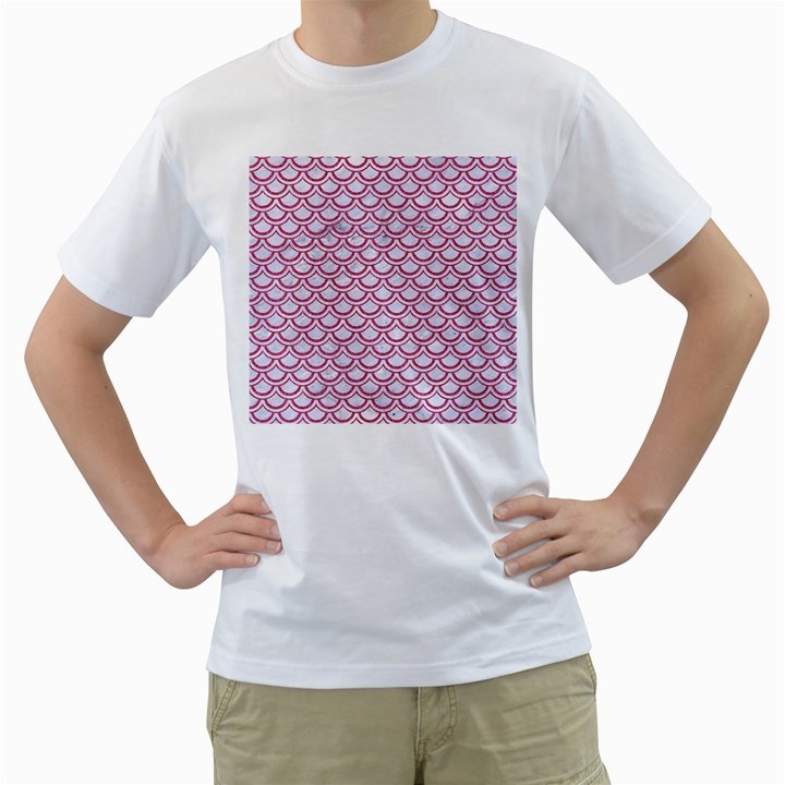 SCALES2 WHITE MARBLE & PINK DENIM (R) Men s T-Shirt (White)