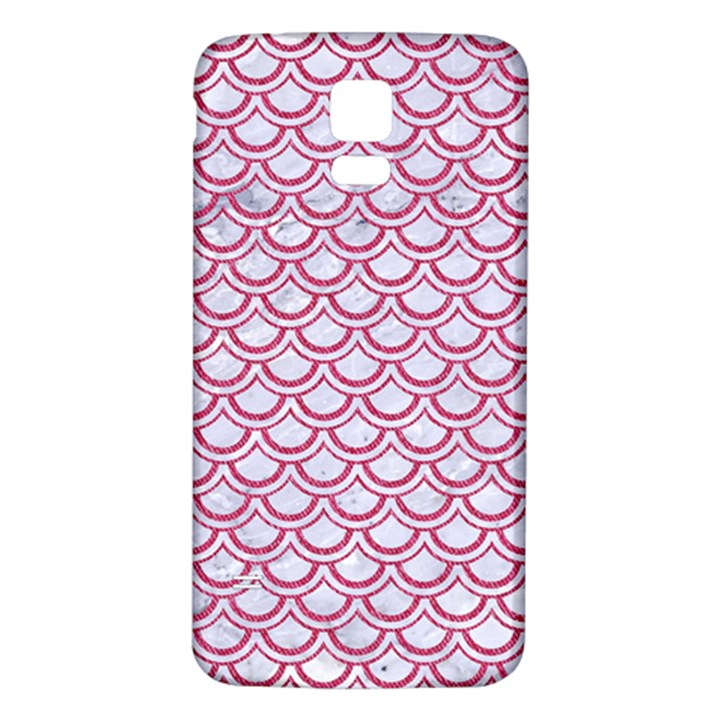 SCALES2 WHITE MARBLE & PINK DENIM (R) Samsung Galaxy S5 Back Case (White)