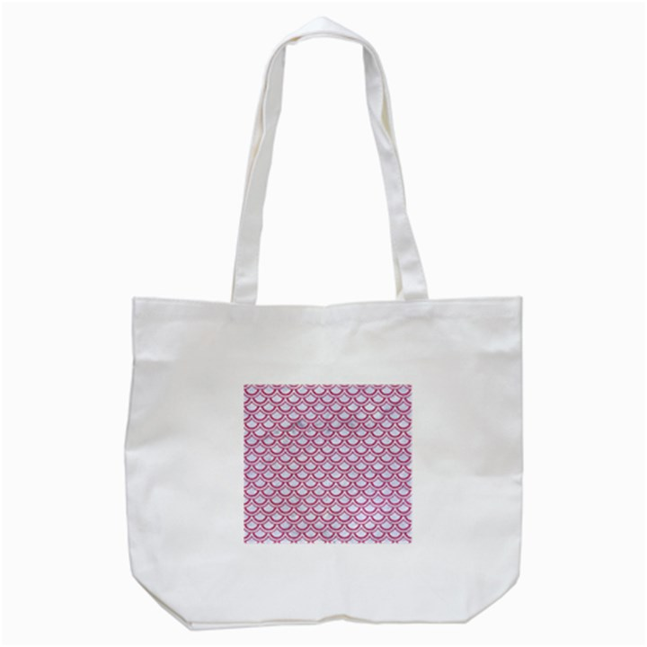 SCALES2 WHITE MARBLE & PINK DENIM (R) Tote Bag (White)