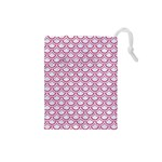 SCALES2 WHITE MARBLE & PINK DENIM (R) Drawstring Pouches (Small)  Front